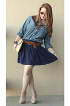 chambray JCrew shirt - asos bag - Forever 21 skirt - H&M belt - Guess heels