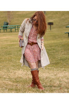floral H&M dress - tawny Steve Madden boots - silver anorak Old Navy jacket