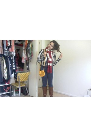 navy Charlotte Russe leggings - tawny Payless boots - ruby red Aeropostale scarf