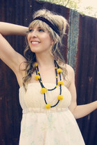 yellow yellow pompoms Robin Moratti necklace