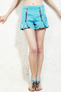 Blue-chiffon-romwe-shorts