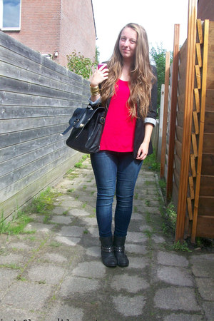 black studded Primark boots - blue skinny lindex jeans