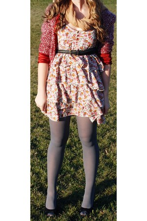 Rue 21 tights - floral Wet Seal dress - wool Rampage sweater