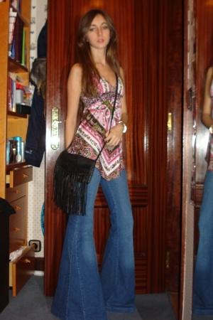 motor jeans - black Stradivarius bag - Bershka t-shirt