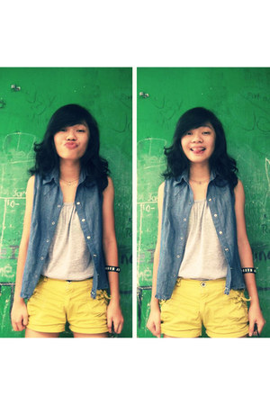 silver t-shirt - navy blazer - yellow shorts