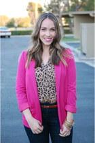 hot pink H&M blazer - Loft blouse - Loft pants - Loft belt - Forever21 bracelet