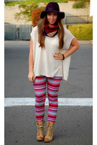 deep purple wide brim Mossimo hat - hot pink tribal H&M leggings