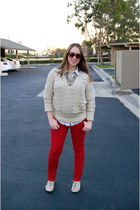 Loft necklace - Steve Madden shoes - Loft sweater - Forever 21 blouse