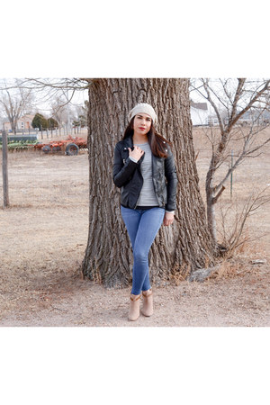 basic JCPenney sweater - brown JCPenney boots - leather Forever 21 jacket