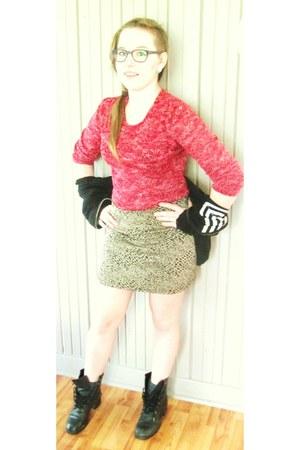 black vintage boots - grey vintage socks - red see-through vintage top