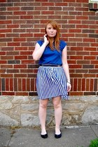 navy vintage blouse - blue vintage skirt - black leather Gap belt - black Old Na
