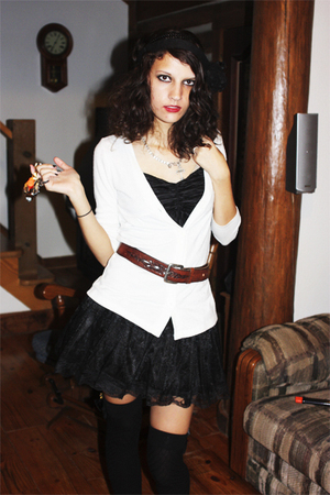black blouse - white cardigan - black skirt - black stockings - brown belt - sil