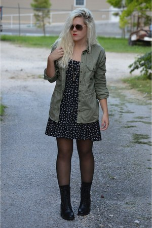 black leather boots Nasty Gal boots - green army jacket jacket