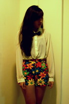 florals shorts - cream chiffon shirt - bow tie accessories