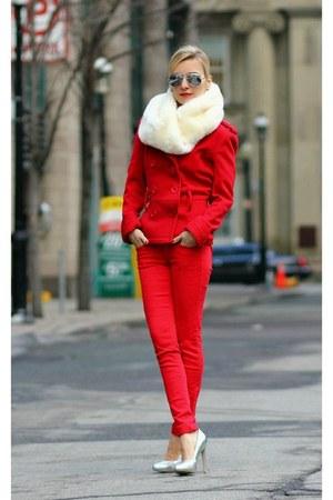 Topshop scarf - Topshop heels - JCrew pants