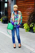 Old Navy shirt - Gap jeans - Zara bag - H&M vest - Zara heels - JCrew bracelet