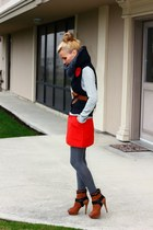 sam edelman boots - Zara sweater - H&M vest - JCrew skirt