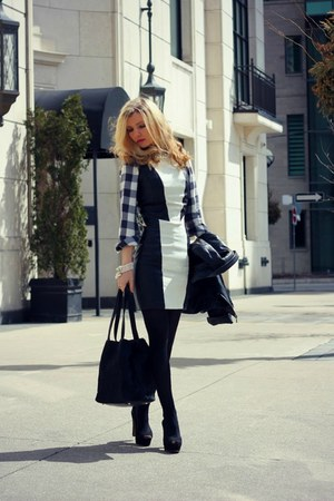 H&M dress - danier jacket - Old Navy shirt - DKNY bag - Zara heels