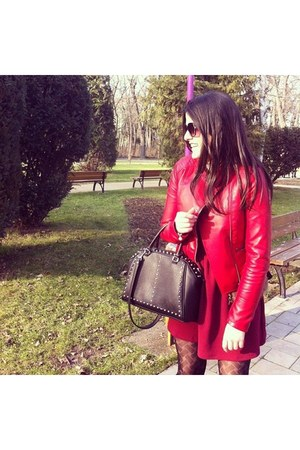 red faux leather Stradivarius jacket - ruby red Stradivarius dress