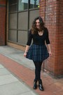 Black-guess-boots-navy-made-by-me-skirt