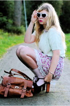 brown satchel Wera bag - light purple floral asian icandy dress