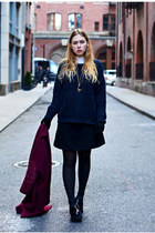 navy boxy Topshop sweater - black platform Office shoes