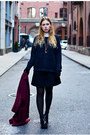 Black-platform-office-shoes-brick-red-wool-monki-coat