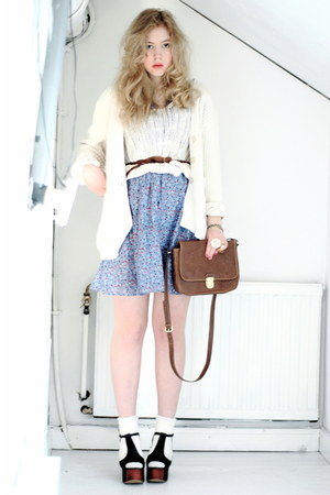 black foxy Jeffrey Campbell shoes - periwinkle H&M dress - brown H&M bag - white