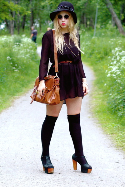 black Monki dress - brown satchel Wera bag - black over the knee H&M socks - bla