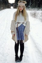 light blue vintage dress - white moms sweater - black H&M socks - eggshell Bik B