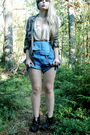 Beige-h-m-top-green-gina-tricot-shirt-blue-beyond-retro-shorts-black-secon