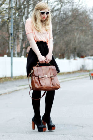 satchel bag - white wayfarer 80s Purple sunglasses - black sheer Monki skirt