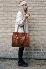 Beige-h-m-jacket-white-thrifted-sweater-brown-wera-bag-pink-bik-bok-hat