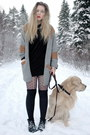 Heather-gray-monki-cardigan-black-acne-dress