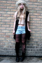 beige H&M top - blue Monki shorts - black vintage vest - yellow second hand hat
