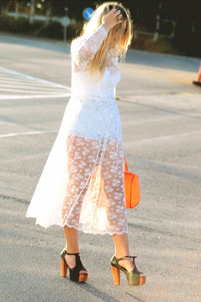 white lace Thrifted&amp;Modern dress - orange candy romwe bag
