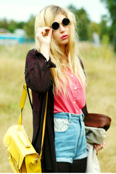 yellow satchel romwe bag - sky blue denim second hand shorts