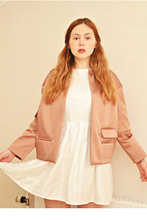 white Topshop dress - light pink structured &amp; other stories jacket