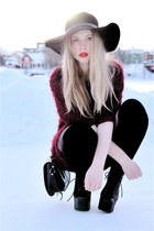 crimson furry Monki sweater - black lita Jeffrey Campbell shoes