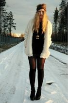 white Bik Bok jacket - black ROOTS shoes - Dixi socks - brown DIY scarf