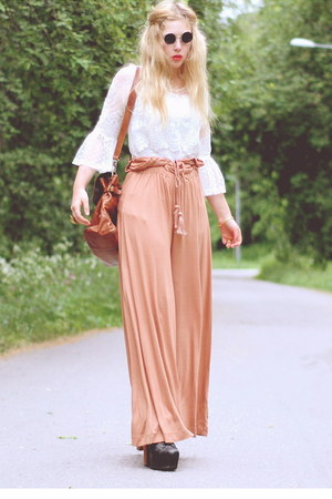 light orange palazzo H&M pants - white worn as top Ida Sjstedt dress