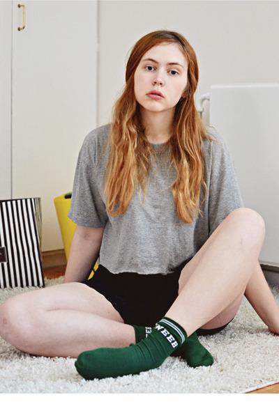 black lace American Apparel shorts - dark green sports Topshop socks