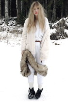white furry Bik Bok cardigan - brown faux fur vintage scarf