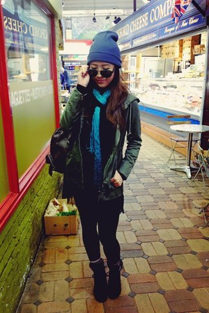 green army green coat - black suede boots boots - teal scarf