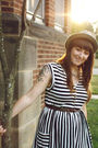 Black-modcloth-dress-brown-shoes-silver-pendleton-hat-brown-belt