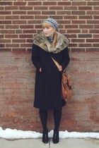 black fur vintage coat - heather gray crochet thrifted hat - brown leather thrif