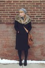 Black-fur-vintage-coat-heather-gray-crochet-thrifted-hat-brown-leather-thrif