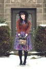 Purple-thrifted-dress-brown-thrifted-sweater-black-t-strap-rampage-heels