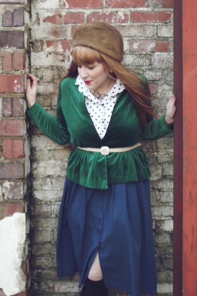 light brown fur vintage hat - green velvet vintage jacket - ivory polkadot thrif