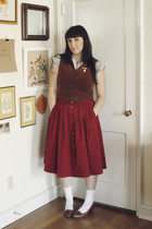 red thrifted skirt - gray thrifted blouse - brown thrifted vest - white socks -
